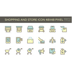 Shopping and store front icon set 48x48 pixel vector