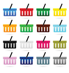 shopping basket set in color design vector image