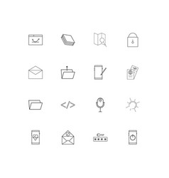 Signs and symbols simple linear icons set vector