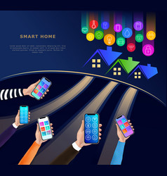 smart home technology concept on dark background vector image