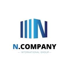 trendy isometric N letter logo vector image