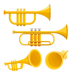 trumpet icon set cartoon style vector image