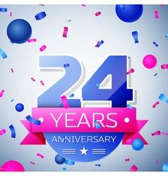 Twenty four years anniversary celebration on grey vector