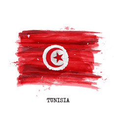 watercolor painting design flag of tunisia vector image