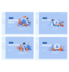 Winter and holidays web banners set with various vector