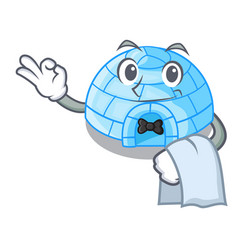 With guitar igloo ice house isolated on mascot vector