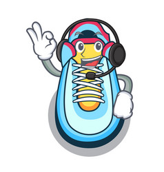 With headphone sneaker mascot cartoon style vector