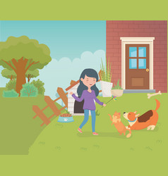 Woman with cute little cat and dog in house vector