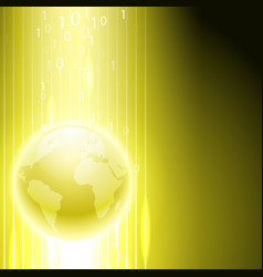 yellow background with binary code to the globe vector image