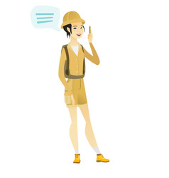 Young asian traveler with speech bubble vector