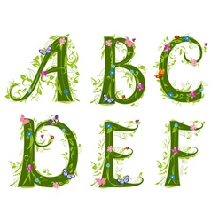 foliage letter 1 vector image vector image