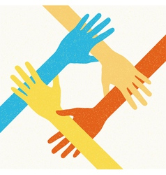 hands teamwork connecting concept vector image vector image