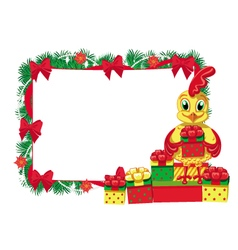 New Year cock empty frame vector image
