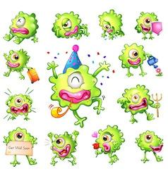 Set of green monsters vector image vector image