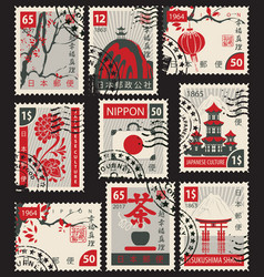 set of postage stamps on the japanese theme vector image