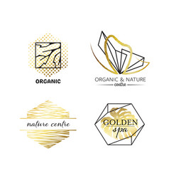 spa and beauty labels with geometrical shapes vector image