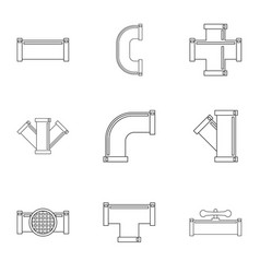 water conduit icon set outline style vector image vector image