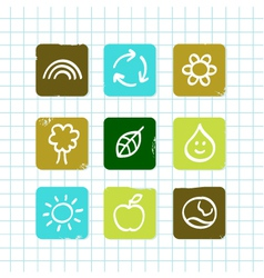 doodle nature icons vector image vector image