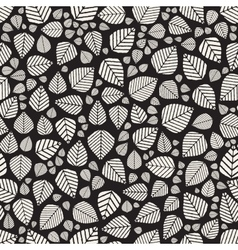 Seamless Black And White Hand Drawn Leaves vector image