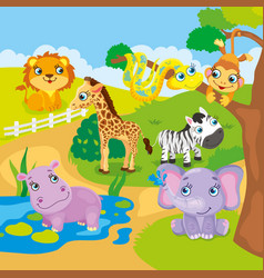 Cute Cartoon Zoo Animals vector image