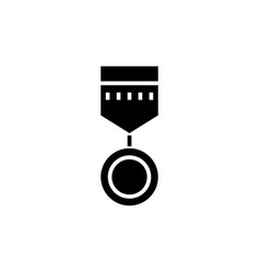 medal round icon black sign vector image