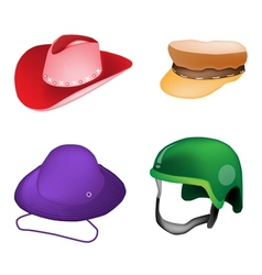 Set of Hats and Helmet on White Background vector image vector image