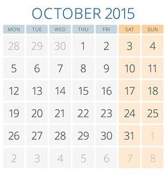 Calendar 2015 October design template vector image