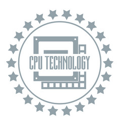 cpu technology logo simple gray style vector image vector image