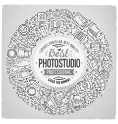 Set of photo studio cartoon doodle objects round vector