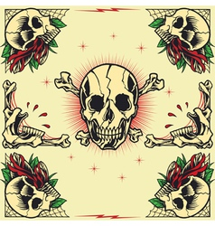 Skull and Rose Frames vector image vector image