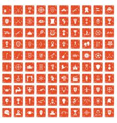 100 trophy and awards icons set grunge orange vector image