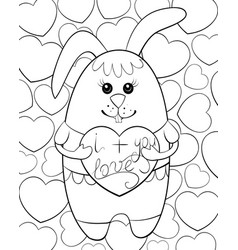 Adult coloring bookpage a cute rabbit with a vector