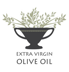 amphora with olive branches symbol of the vector image