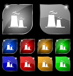 Atomic power station icon sign Set of ten colorful vector