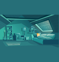 Attic room at night with sleeping boy vector