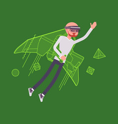 augmented reality man jetpack flying vector image