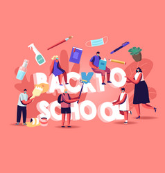 Back to school concept students and teacher vector