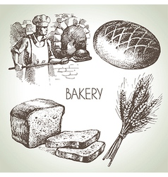 Bakery sketch icon set vector