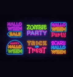 big collection neon signs for halloween halloween vector image