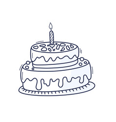 Birthday cake with candle symbol celebration vector