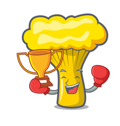 Boxing winner chanterelle mushroom mascot cartoon vector