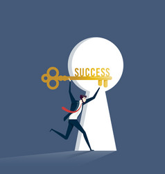 businessman with key of success business concept vector image