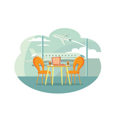 cafe table at airport with pizza in box and coffee vector image