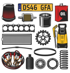 Car spare parts engine details and motor oil vector