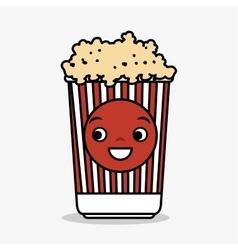 Cartoon pop corn basket icon vector