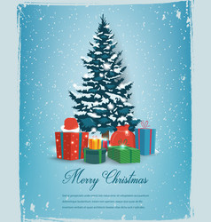 christmas tree with decorations and gift boxes vector image