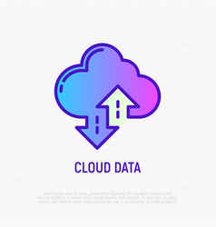 Cloud data line icon backup download upload vector