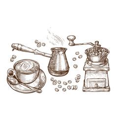 coffee sketch drink concept vintage vector image