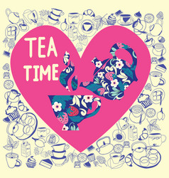collection in heart shape with doodle tea time vector image