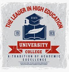 college poster university identity placard school vector image